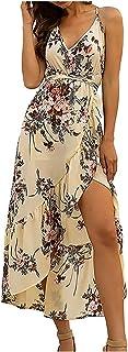 النساء عارضة بوهو فساتين مثير بلا أكمام حزام الخامس الرقبة الأزهار طباعة عطلة شاطئ ميدي فساتين