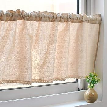 Unimall Cortina Visillos Cocina Cortinas de ventana, Color Café 100% Algodón lino de 55*12 Inch (140cm x 30cm): Amazon.es: Hogar