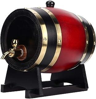 Barrel Bière en Bois, 3L Vintage en Fûts de Chêne Vin Bière Keg Ménagers de Stockage Bucket Baril de Vin Rouge Tireuse à B...