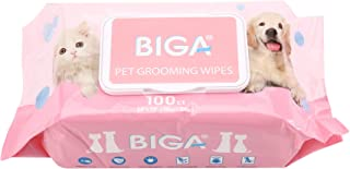 Deodorizing Hypoallergenic Pet Wipes with Fragrance Free Natural Organic and Antibacterial for Cleaning Face Butt Eyes Ears Paws Teeth 100ct per Pack