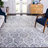 Safavieh Madison Collection MAD604A Glam Ogee Trellis Distressed Non-Shedding Stain Resistant Living Room Bedroom Area Rug, 8' x 10', Cream / Royal Blue