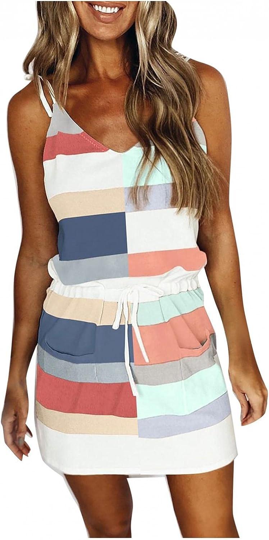 Gerichy Summer Dress for Women, Womens Casual V Neck Striped Dress Beach Sundress Sexy Bodycon Mini Workout Dresses