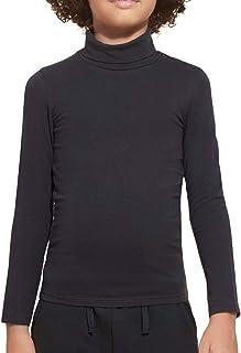 VKA41 Camiseta para niños Suber Cuello Alto Manga Larga y Felpa en el Interior