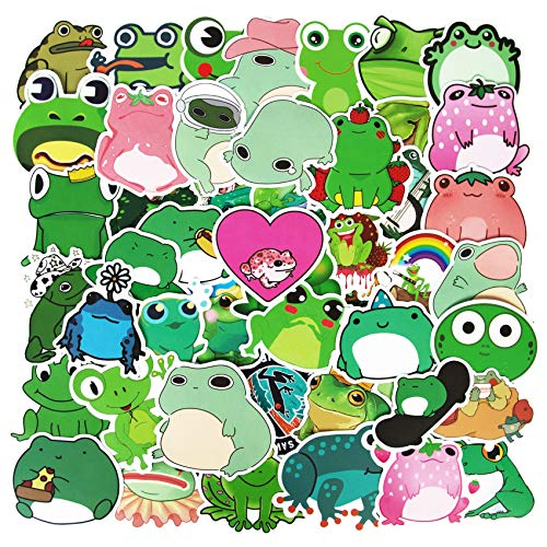 50Pcs Cute Frog Stickers, Vinyl Aesthetic Trendy Laptop Stickers for Teens DIY Decoration Frog Sticker and Decals