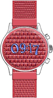 Nylon One Piece Watch-Band Soft Woven Fabric Sport Replacement Watch Belt Strap with Tight Fast Adhesive Ribbon Tape Closure Arm-Band Bracelet (Hot Red, 20mm)