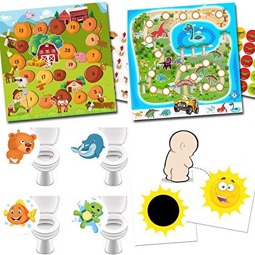 Potje training met 2 beloningssystemen boerderij + dinos/4 wc-stickers lievelingsdieren / 2 magische stickers zon