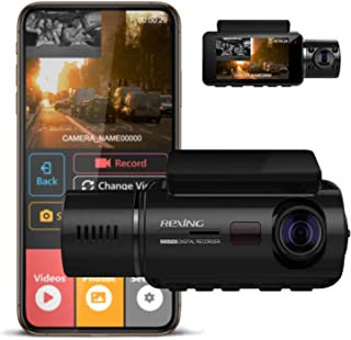 Rexing V3 Basic Dual Camera Front and Inside Cabin Infrared Night Vision Full HD 1080p WiFi Car Taxi Dash Cam with Superca...