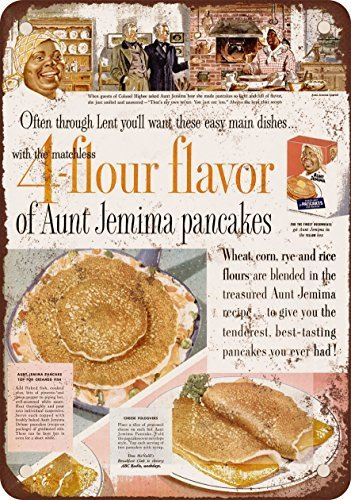 1955 Aunt Jemima Pancakes Vintage Look Reproduction Metal Tin Sign 8 x 12 inches