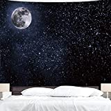 BJYHIYH Black Tapestry Wall Hanging Moon Stars Tapestry Starry Sky Tapestries for Bedroom Living Room Decoration(90'×60')