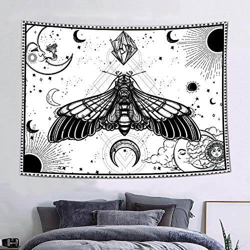 FEASRT Tapestry Wall Hanging Mandala Bohemian Hippy Hawk Moth Tapestry Gothic Mysterious Black and White Sun Moon Tapestry 60x40inch Psychedelic for Bedroom Living Room Dorm GTZYAY472
