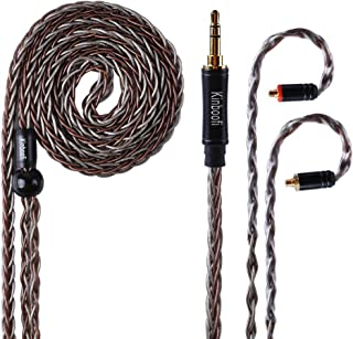 KINBOOFI Upgrade MMCX Earphone Cable 8 Core Replacement Cable Silver Plated Copper & High Purity Copper Hybrid Braided IEM Cable Compatible for TIN Audio T2 T3 BGVP DMG DM7 Shure SE215 (MMCX, 3.5mm)