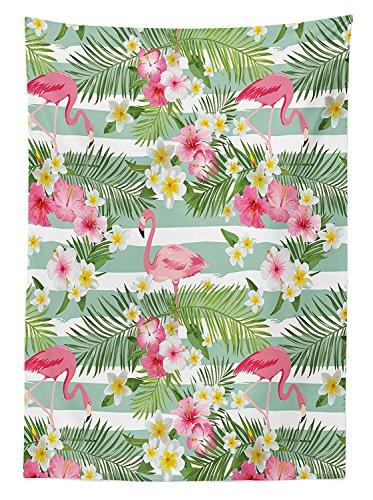 Yeuss Flamingo D¨¦cor Nappe Flamingos Exotique Hawa?en Feuilles Fleurs sur Fond Vintage ¨¤ Rayures, rectangulaire pour Table de Cuisine Salle Manger, Vert, Rose, Blanc, 60\