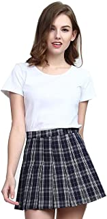 Clarisbelle Women High-Waisted Pleated Mini Skirts Soft Shorts Underneath Plaid School Skirt
