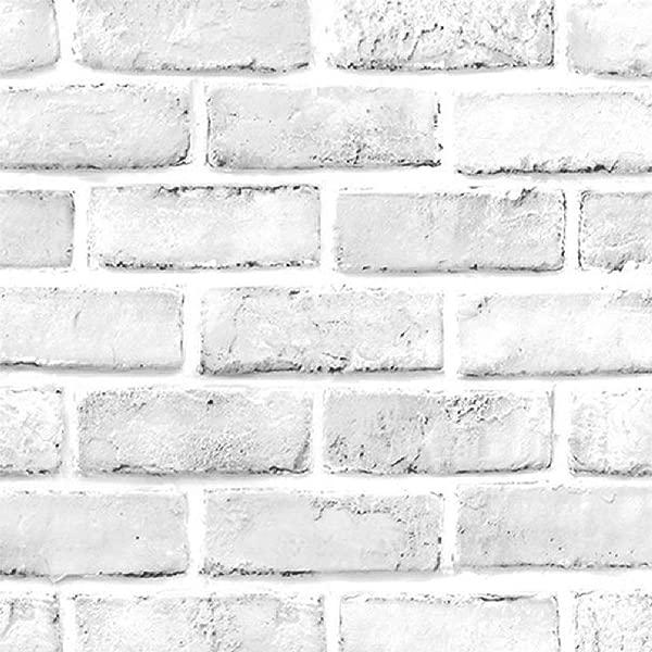 TaoGift Self Adhesive Grey White 3D Brick Contact Paper Wallpaper Peel And Stick Kitchen Vinyl Backsplash Bathroom Wall Home Decal Sticker 17 7 X393