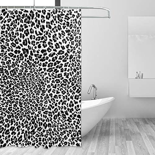 Emoya Duschvorhang mit Haken Schwarz Weiß Panther Leopard Haut Anti Schimmel Vorhang für Badezimmer 150x180cm