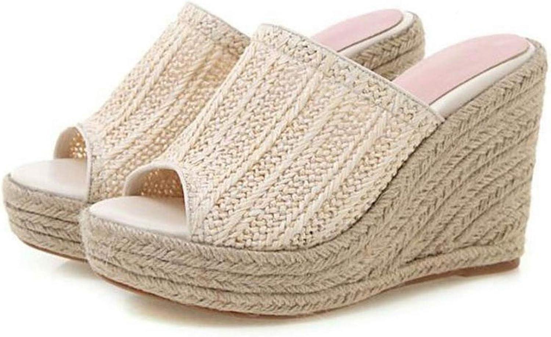 Summer Wedge Straw Slippers Platform High Heels Women shoes Ladies Outside Beach Simple Sweet Slipper Flip Flop Sandals