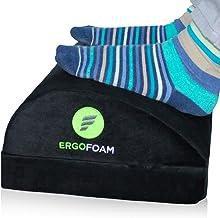 ErgoFoam Adjustable Desk Foot Rest for Added Height   Orthopedic Teardrop Design   Large Premium Under Desk Footrest   Mos...
