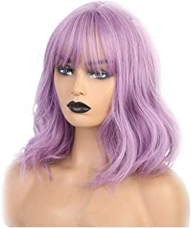 IQQI Wigs Mid Length Long Wave Women Synthetic Wigs Purple Colors Bangs Fake Scalp Natural Daily Party Use