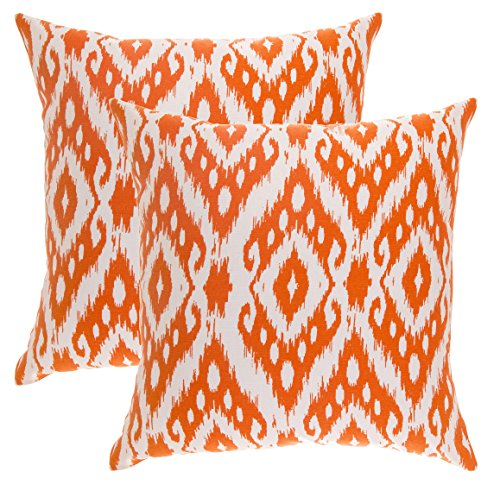 TreeWool Dekorativer Kissenbezug (50 x 50 cm, Orange) Ogee Ikat Diamant Design 100% Baumwolle (2er Pack)