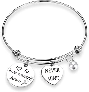 BTS Love Yourself Army Never Mind Charm Bracelet Inspirational Gift for Women Girl Sister Wife Daughter