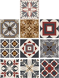 CLISPEED 10pcs Talavera Vinyl Floor Stickers Waterproof PET Tile Decals Self Adhesive Peel and Stick Wall Sticker for Home...