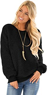 Women Cozy Fuzzy Pullover Casual Solid Color Sweatshirt for Leggings Oversize Fall Jacket