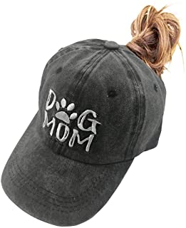MANMESH HATT Dog Mom Ponytail Baseball Cap Messy Bun Vintage Washed Distressed Twill Plain Hat for Women