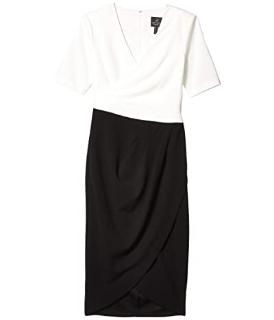 Adrianna Papell Knit Crepe Color-Blocked Wrap Dress (Ivory/Black) Women