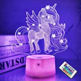 Luces de unicornio 3D Lámpara de ilusión de hadas 16 colores y control remoto Escritorio de luz LED óptico Mesa táctil LED Iluminación de cabecera Regalos Juguetes Juguetes Niñas Niños para cumpleaños