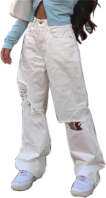 Larisalt Y2k Fashion Jeans for Women High Waisted Pants, Women Baggy Ripped Boyfriends Jeans Wide Leg Loose Denim Pants