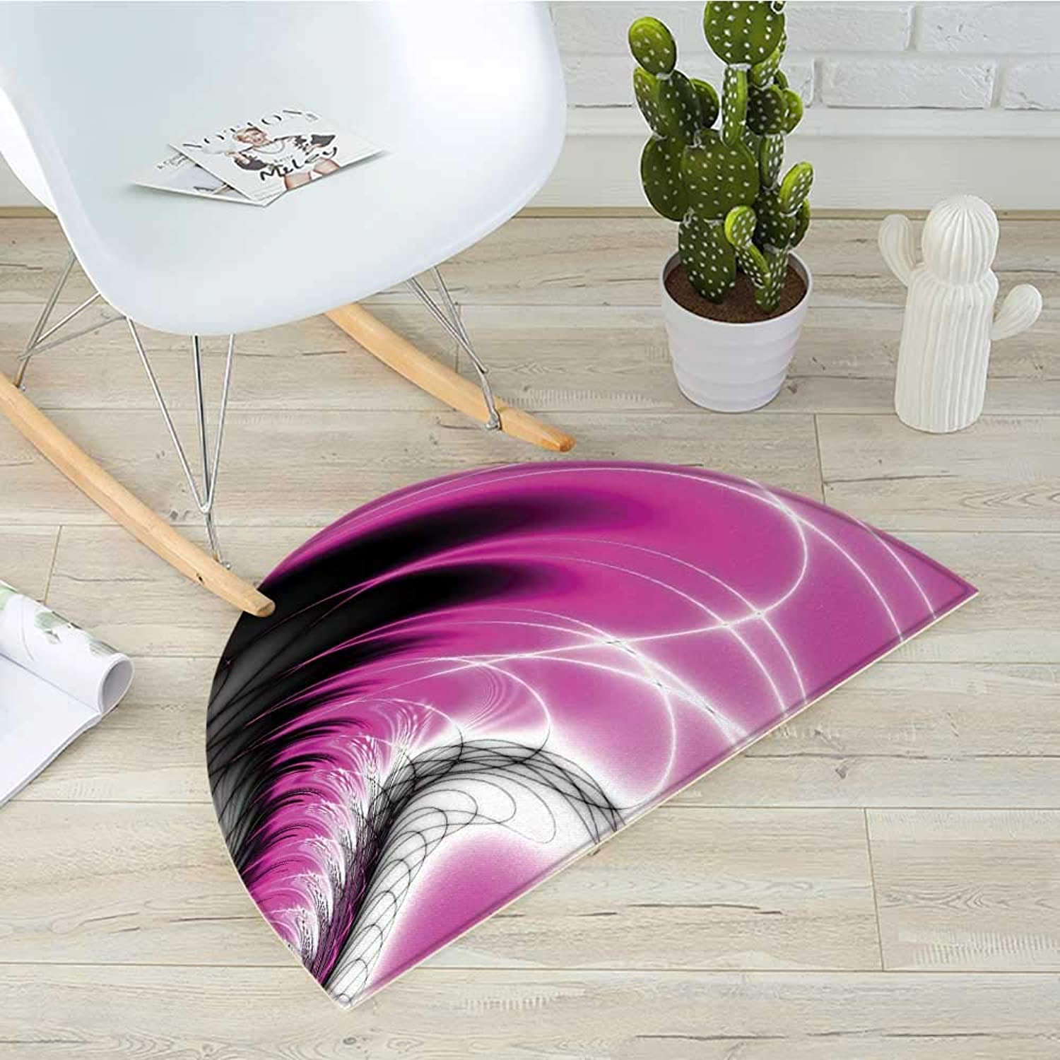 Fractal Half Round Door mats Digital Dynamic Energy Flows Inspired Artisan Fantasy Shapes Computer Print Bathroom Mat H 43.3  xD 64.9  Magenta Black