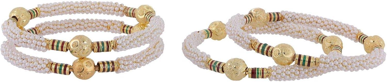 Efulgenz Indian Style Bollywood Gold Plated Faux Pearls Beads Enamel Stone Wedding Bridal Bracelet Bangle Set Jewelry