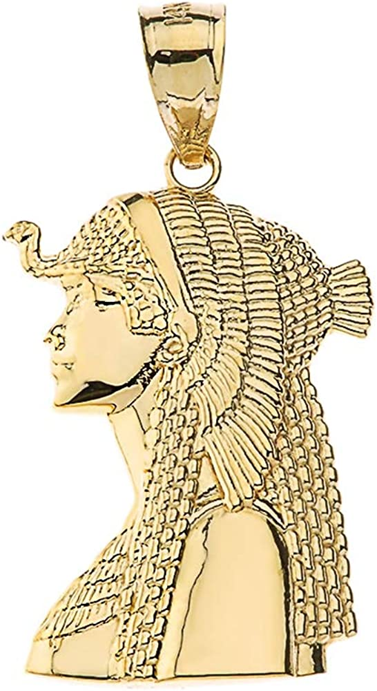 Textured 10k Yellow Gold We OFFer at cheap prices Ancient Queen Cleopatra Pendan 5 ☆ very popular Egyptian