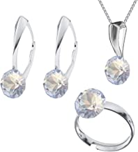 Beforya Paris - Impeccable Brilliants - Big Set -White Opal- 925 Silver Set - Crystals from Swarovski - Studs with Necklace and Ring 925 Sterling Silver Woman - with Gift Box PIN/75