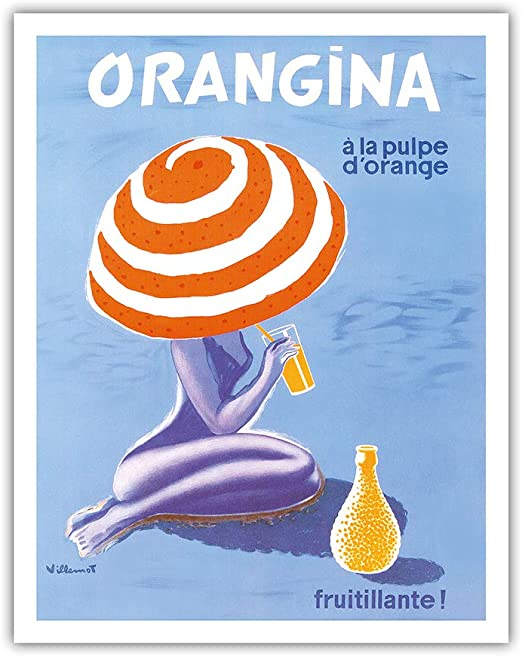 Orangina Sparkling Soda Beach Bikini Ad Bernard Villemot Vintage Poster Print