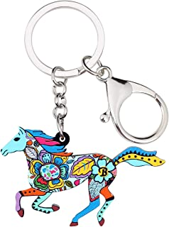 WEVENI Acrylic Elegant Jumping Horse Key Chains Rings Fashion Animal Jewelry for Women Girls Bag Charm Gifts Bulk