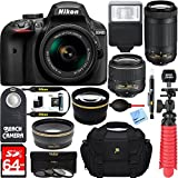 Nikon D3400 DSLR Camera + AF-P DX 18-55mm +70-300mm NIKKOR Zoom Lens...
