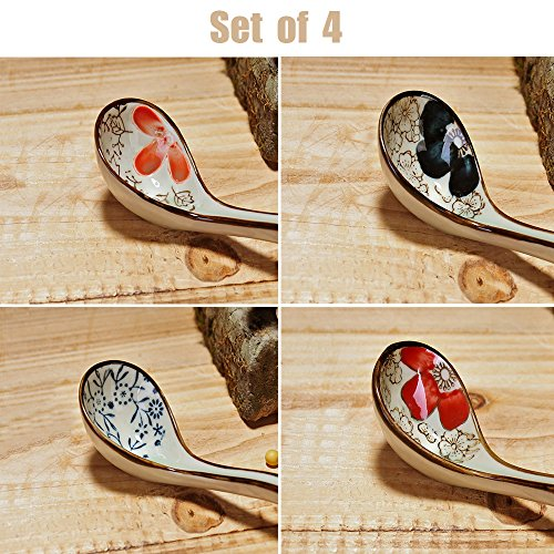 XYTMY Long-handled Porcelain Soup Spoon Hand-crafted Tableware Asian Style(Set of 4)