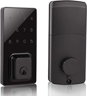 Probrico Smart Touchscreen Keypad Deadbolt, Keyless Electronic Entry Deadbolt with Keypad, Auto Lock & 100 Customizable User Codes, Easy to Install and Program for Office & Home, Black