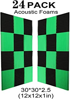 24 Pack- Black/Green Acoustic Panels Studio Foam Wedges 1