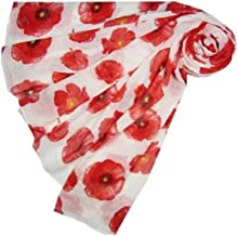 New Poppy Print Floral Scarf Remembrance Day Poppies Scarves Wrap Shawl (white with red poppys)