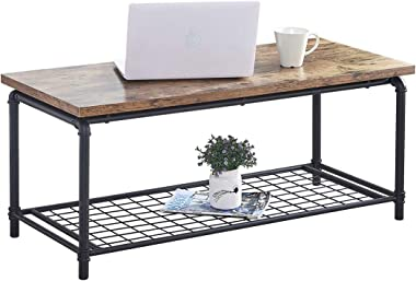 aHUMANs Industrial Coffee Table with Storage Shelf Wood Look Rectangular Living Room Table Accent Furniture with Metal Frame Brown