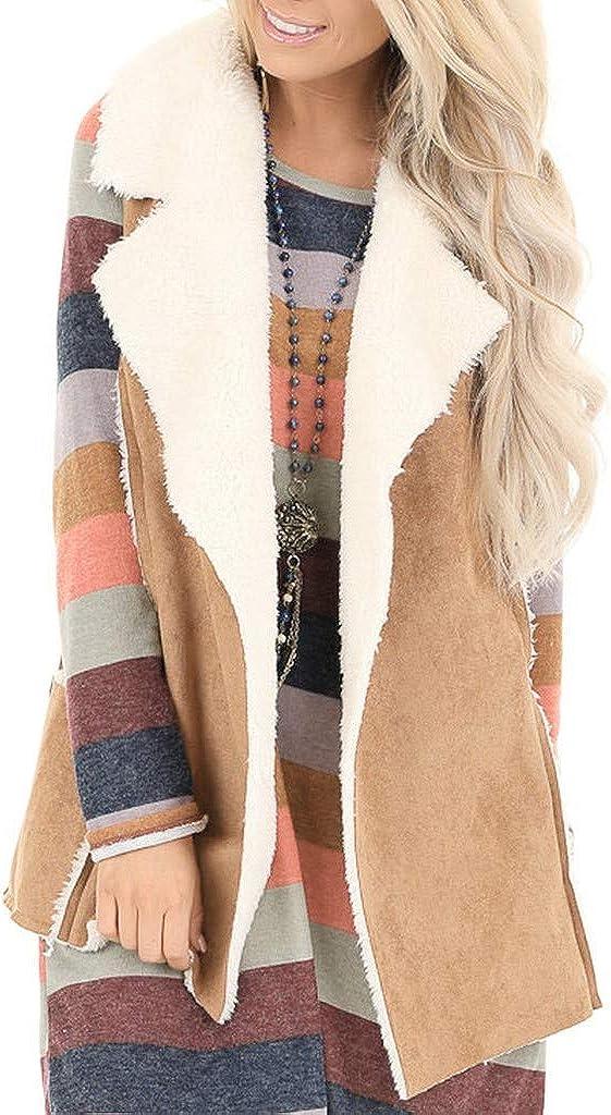 BCDlily Women Sleeveless Jacket Faux Fleece Lined Fuzzy Suede Sherpa Coat Vest Pocket Waistcoat