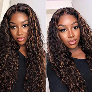 Water Wave Human Hair Lace Front Wigs Highlight 150% High Density Brazilian Remy Brown Wigs Ombre Color 13x4 Lace Front Human Hair Wigs Pre Plucked with Baby Hair(14 Inch Middle Part)