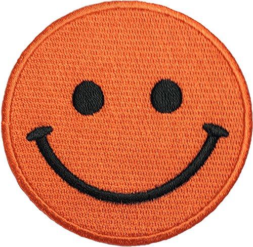 Papapatch Happy Face Smile Fun Hippie Retro Embroidered Sew Iron on Patch - Orange (IRON-SMILE-OR)
