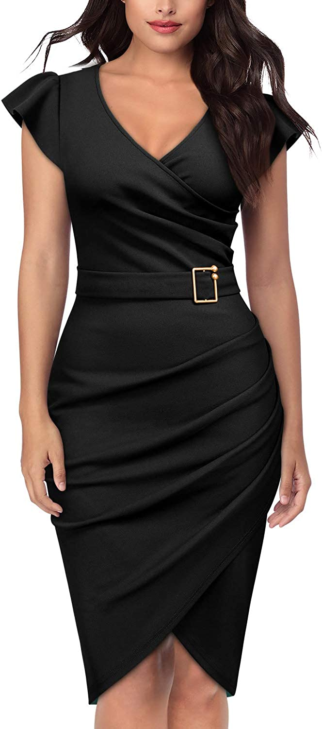 Knitee Women's Sleeveless VNeck Office Evening Nightout Cocktail Party Bodycon Sheath Dress