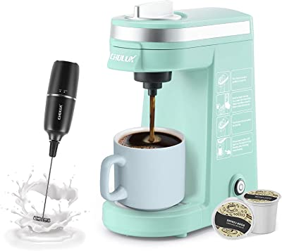 CHULUX Single Cup Coffee Maker with Milk Frother,One Button Operation Compact Coffee Machine with Auto Shut-Off for Capsule or Ground Coffee,Cyan
