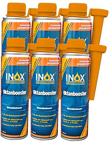 INOX® Oktanbooster Benzin Additiv, 6 x 250ml - Erhöht Oktanzahl & Motorleistung und reduziert den Kraftstoffverbrauch
