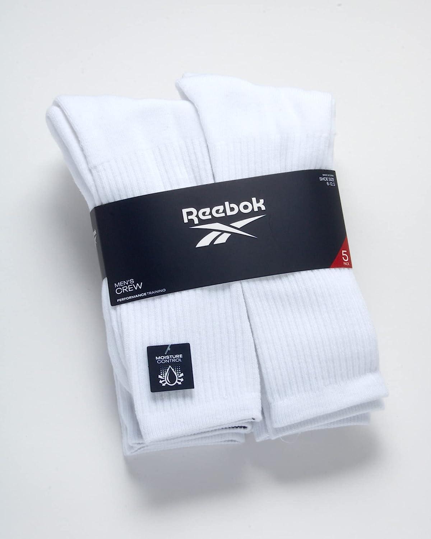 Reebok Men's Cushioned Comfort Athletic Performance High Crew Socks (5 Pack)