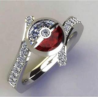 HYLJZ Anello Pet Ball Fashion Cartoon Jewelry Shine Zircon Stone Silver Cute Rings for Women Wedding Engagement Jewelry